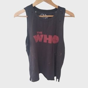 Chaser 'The Who' Distressed Side Slit Muscle Tank